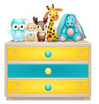 childrens chest of drawers with plush toys vector image