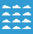 Collection stylized cloud silhouettes set of