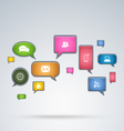 Communication aplication in bubbles background vector image vector image