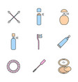 cosmetics accessories color icons set vector image vector image
