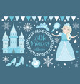 cute little snow princess cold queen objects set vector image