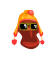 duck wearing knitted winter hat and sunglasses vector image