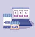 ecommerce online with laptop computer and icons vector image vector image