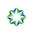 flower ribbon logo vector image
