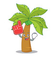 foam finger palm tree character cartoon vector image