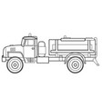 fuel truck car sketch coloring book isolated vector image vector image