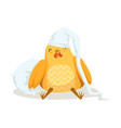 funny cartoon chick bird sleeping in his bed vector image vector image