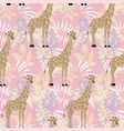 giraffe seamless pattern abstract leaves pink vector image vector image