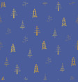 gold christmas trees on blue background vector image vector image