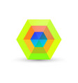 green abstract hexagon business logo vector image