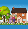 group old people standing in front a house vector image