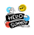 hello summer concept cute summer elements for web vector image vector image