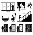 home house indoor fixtures stick figure pictogram vector image