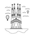 line sagrada familia tower and air balloons vector image