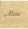 Menu card design on texture old paper vector image
