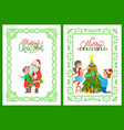 merry christmas preparation of father and daughter vector image