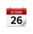 October 26 flat daily calendar icon Date vector image vector image