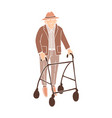 old man walking with rollator vector image