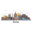 outline boise idaho city skyline with color vector image vector image