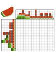 paint number puzzle nonogram watermelon vector image vector image