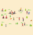 public park with people riding bicycle skateboard vector image vector image