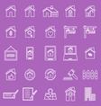 Real estate line icons on violet background vector image
