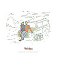 road trip couple in love on holiday vector image vector image