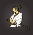samurai ready to fight action graphic vector image