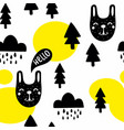 seamless pattern with cute black animals and vector image