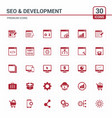 seo and developement red icons vector image vector image