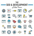 seo and development filled outline icon set vector image vector image