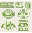 set bright green labels and logo natural eco vector image