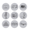 set of icons logistic shipping delivery vector image vector image