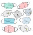 set protective face masks and respirators vector image