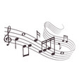 sketch musical sound wave with music notes hand vector image vector image