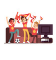 soccer fans and friends watching tv on couch vector image