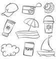 summer object of doodle style vector image vector image