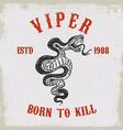 viper snake on grunge background design element vector image vector image