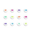 white round bullet points set colorful numbers vector image vector image