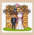 woman and man with flowers plants leaves vector image vector image