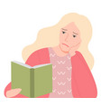 woman reading book female and literature vector image