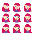 woman with different emotions set vector image vector image