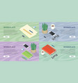 workplace web banners set in isometric projection vector image vector image