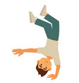 young breakdancer stands up-side down on one hand vector image vector image
