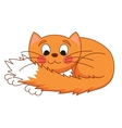Cartoon plump red cat with kind muzzle stretching vector image