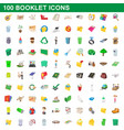 100 booklet icons set cartoon style vector image vector image
