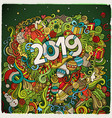 2019 hand drawn doodles colorful new vector image
