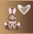 a plush bunny with a bow vector image vector image