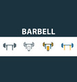 barbell icon set four simple symbols in diferent vector image vector image