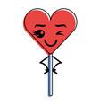 cartoon heart lollipop kawaii character vector image vector image